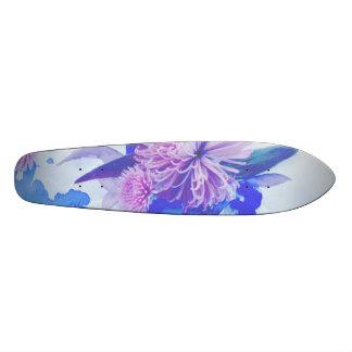 Pourpre, bleu et Longboard imprimé floral turquois Planches À Roulettes Customisées
