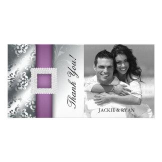 Pourpre d argent de damassé de bijou de Photocard Cartes De Vœux Avec Photo