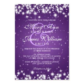 Pourpre élégant d'étincelle d'hiver de mariage carton d'invitation  12,7 cm x 17,78 cm
