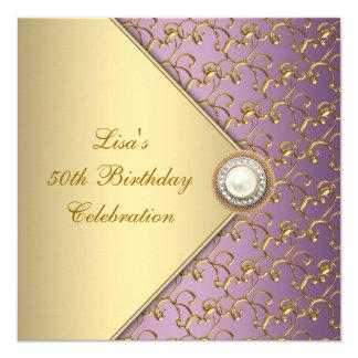 Pourpre élégant et fête d'anniversaire de la femme invitations personnalisées