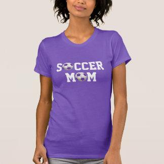 Pourpre et blanc de ballon de football de la maman t-shirt