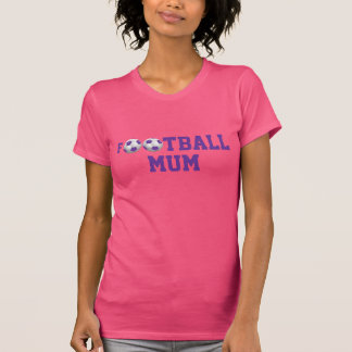 Pourpre et blanc de ballon de football de la maman tee shirts