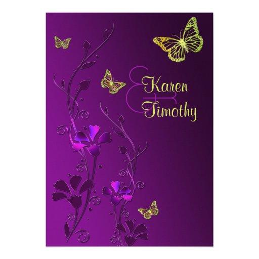 Pourpre et chaux floraux avec des papillons invitation personnalisée