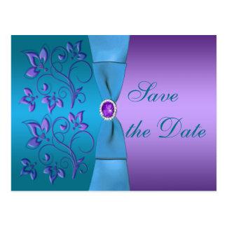 Pourpre et économies florales de turquoise la date cartes postales
