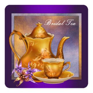 Pourpre et thé nuptiale d'or invitation