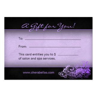 Pourpre floral de spa de chèque-cadeau de salon modèle de carte de visite