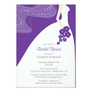 Pourpre nuptiale d'invitation de douche de jeune carton d'invitation  12,7 cm x 17,78 cm