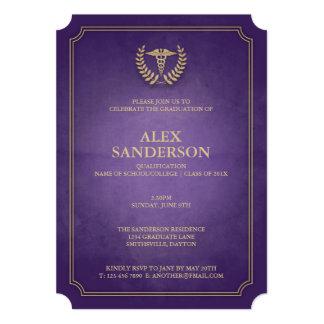 Pourpre simple et obtention du diplôme médicale de carton d'invitation  12,7 cm x 17,78 cm