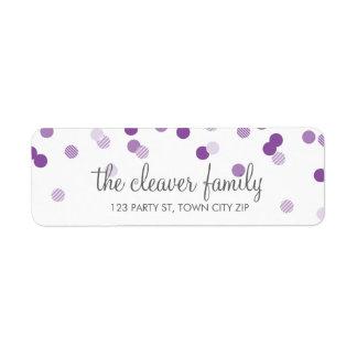 Pourpre violet de point de polka de confettis d'AD Étiquette D'adresse Retour