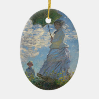 Pours the parasol the woman (mone lady) who ceramic oval ornament