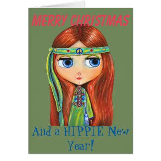 Poussin hippie mignon dans Noël vert de signe de Carte De Vœux
