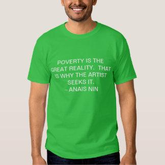 poverty is reality tee shirt