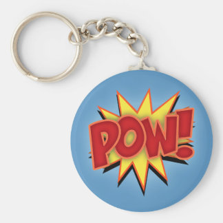 Pow! Basic Round Button Keychain