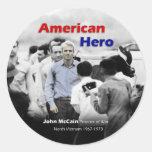 POW John McCain American Hero Round Sticker