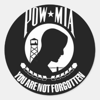POW-MIA Flag Round Sticker