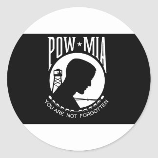 POW+MIA Flag Round Sticker
