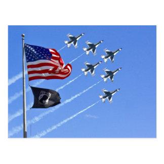 POW MIA Flag with Old Glory & The Thunderbirds Postcard