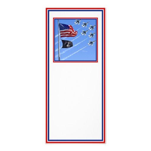 POW MIA Flag with Old Glory & The Thunderbirds Full Color Rack Card