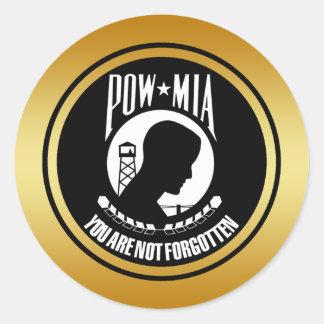 POW MIA - GOLD FRAME ROUND STICKER