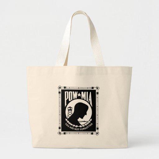 POW/MIA Rectangle - Bamboo Frame Tote Bags