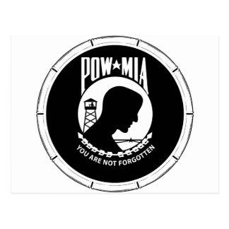 POW/MIA Round - Bamboo Frame Postcard