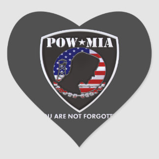 POW MIA - Shield Heart Sticker