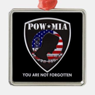 POW MIA - Shield Square Metal Christmas Ornament