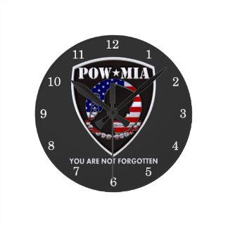 POW MIA - Shield Round Clock