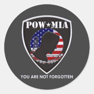 POW MIA - Shield Round Sticker