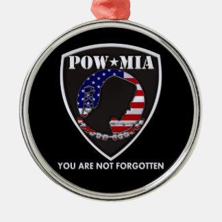 POW MIA - Shield Silver-Colored Round Ornament
