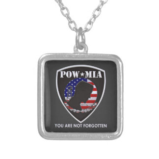 POW MIA - Shield Square Pendant Necklace