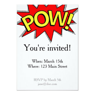 POW! - Superhero Comic Book Red/Yellow Bubble Card