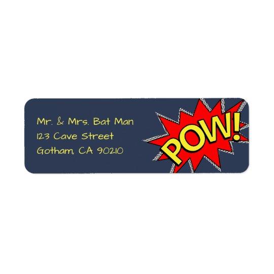 POW! - Superhero Comic Book Style Red/Yellow/Blue Return Address Label