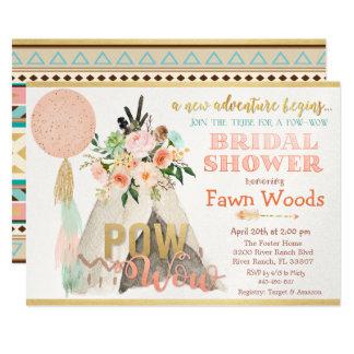 Pow Wow Tribal Teepee Bridal Shower Invitation