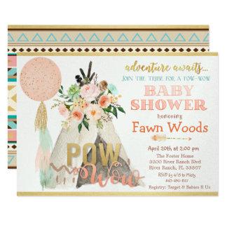 Pow Wow Tribal Teepee Tipi Baby Shower Invitation