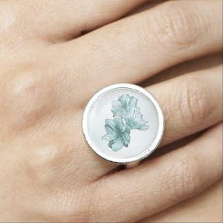 Powder and Aqua Illustrated Flowers Customize Set Photo Ring