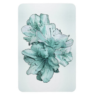 Powder and Aqua Illustrated Flowers Customize Set Vinyl Magnets