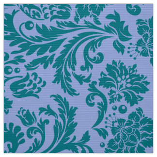 Powder blue and Blue-Green floral damasks Fabric