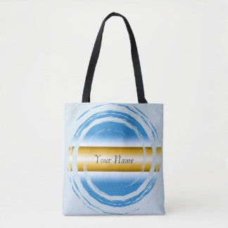 Powder Blue and Gold Swirling Circle on White Tote Bag