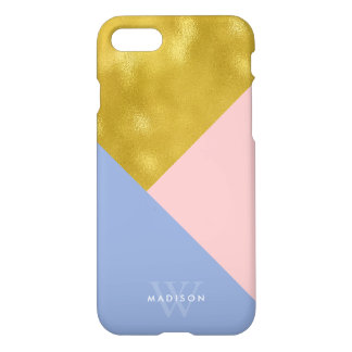 Powder Blue and Soft Pink Monogram iPhone 7 Case