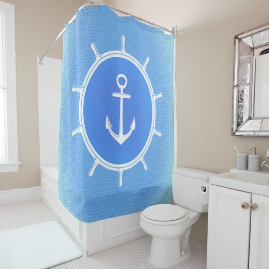 Powder Blue and White nautical anchor and wheel