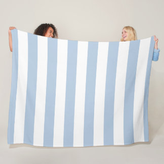 Powder Blue and White Striped Fleece Blanket