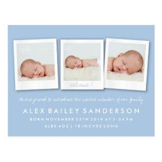Powder Blue Birth Announcement Triple Photo Postcard