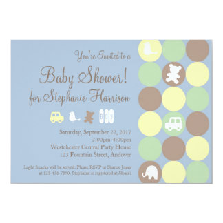 Powder Blue Dots Boy Baby Shower Invitation