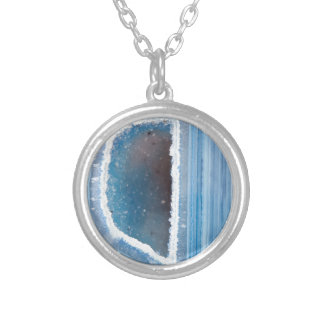 Powder Blue Geode Druzy Silver Plated Necklace