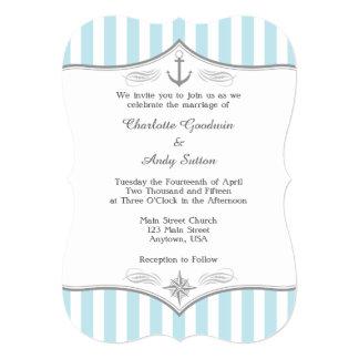 Powder Blue Gray Nautical Wedding Invitation