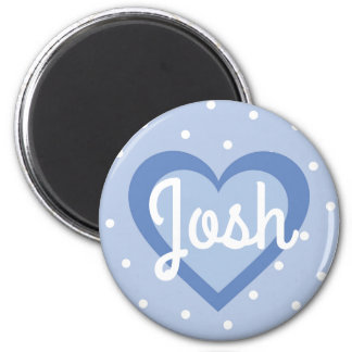 Powder Blue Heart Customisable Round Magnet