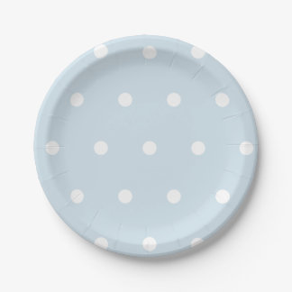 Powder Blue Polka Dot Paper Plate