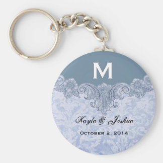Powder Blue Vintage Monogram Wedding Favor V20 Keychain