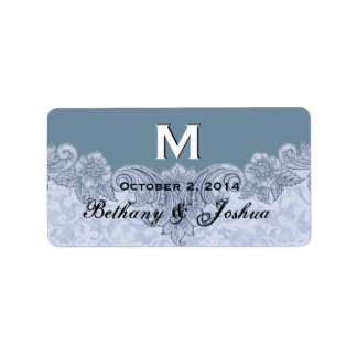 Powder Blue Vintage Wedding Names Date Monogram V8